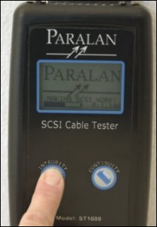 Paralan's ST1000 Hand-Held SCSI Cable Tester checks for continuity, twisted pair integrity, bus type and termination